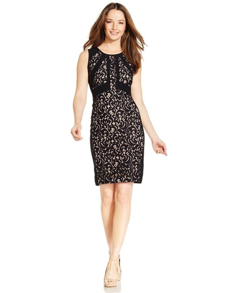 Ivanka Black Dress ivanka lace sheath dress in black lyst