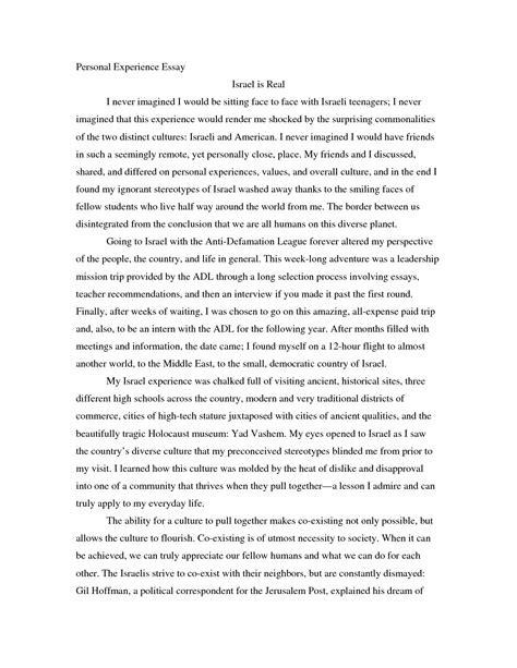 Experience Essay by Doc 12751650 Personal Experience Essay Essay Experience Introduction Sentences For Essays
