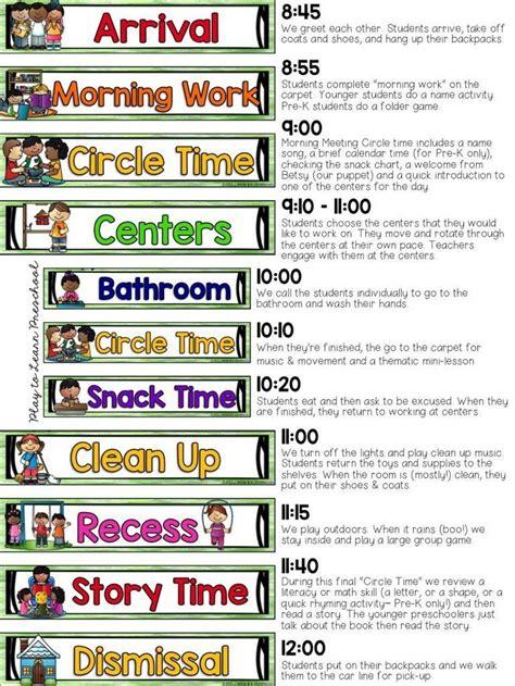 printable visual schedule for kindergarten 25 best ideas about preschool classroom schedule on