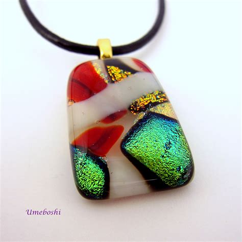 Handmade Fused Glass - celebration handmade dichroic fused glass pendant