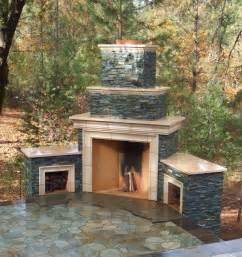 outdoor stone fireplace warming up exterior space traba