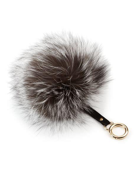 pomeranian fur types adrienne landau fox fur pom pom keychain in gray lyst