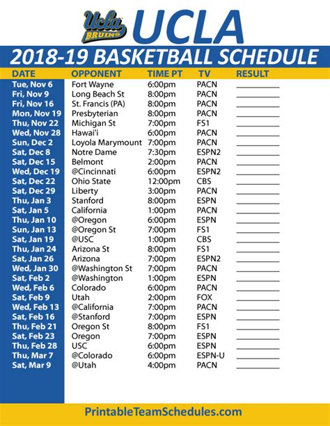 Bruins Schedule Printable