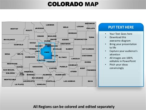 Usa Colorado State Powerpoint County Editable Ppt Maps And Templates Jefferson Powerpoint Template