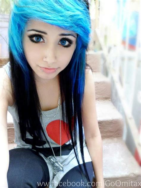 emo haircuts for black hair omita monster emo girl blue eyes blue and black hair