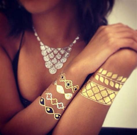 cheritatts 14 metallic tattoos flash tattoos gold