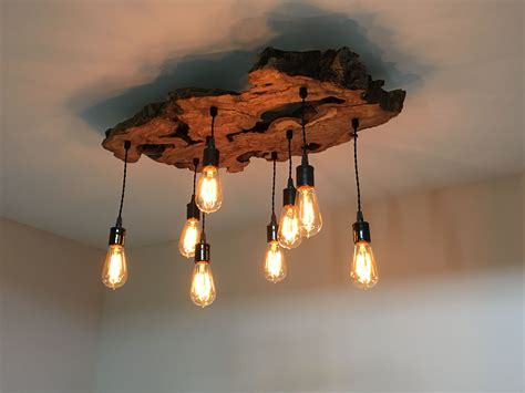 Handmade Light Fixtures - handmade live edge olive wood chandelier rustic and