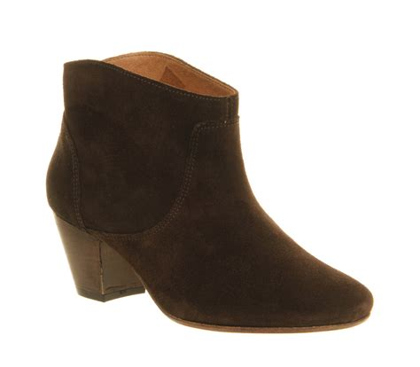 womens h by hudson mirar heeled ankle boot chocolate brown