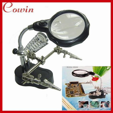Magnifier Jewelry Led Diskon free shipping helping clip cl magnifying soldering iron jewelry stand lens led glass