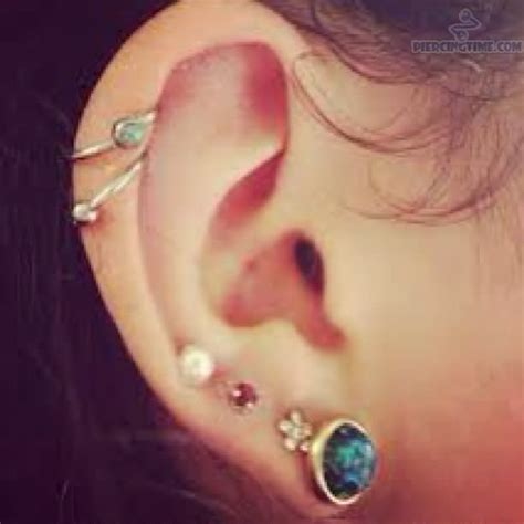 dual cartilage and lobe ear piercing