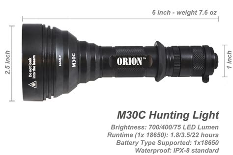 long range torch light orion m30c green or red 700 lumen 377 yards long range hog