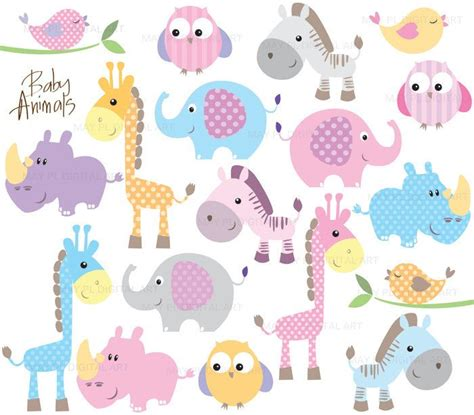 baby animals clipart diy baby shower pastel elephant