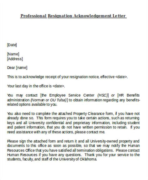 Acknowledgement Of Resignation Letter by Resignation Acknowledgement Letter Templates 7 Free Word Pdf Format Free