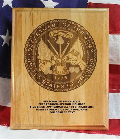 personalized us army seal plaque award military gift