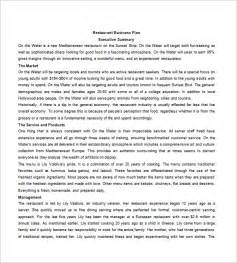 business plan template for a restaurant restaurant business plan template 14 free word excel