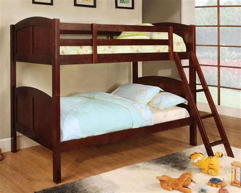 Twin Over Twin Rexford Cherry Solid Wood Bunk Bed Cherry Wood Bunk Bed