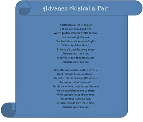 s day verses lyrics australian national anthem kidspot