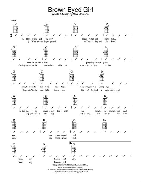 Strum Pattern To Brown Eyed Girl | brown eyed girl sheet music by van morrison ukulele with