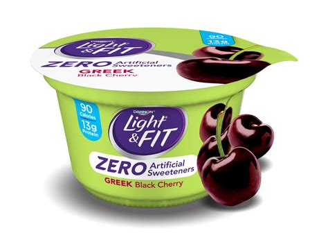 light and fit black cherry yogurt with zero artificial sweeteners