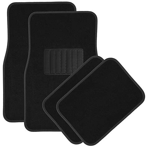 Black Car Mats by Car Floor Mats For Auto 4pc Carpet Semi Custom Fit Heavy Duty W Heel Pad Black Ebay