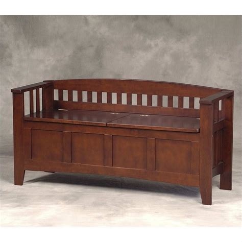 linon storage bench split seat storage walnut