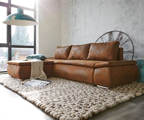 sofa variabel abilene braun 260x175 mit bettfunktion ottomane