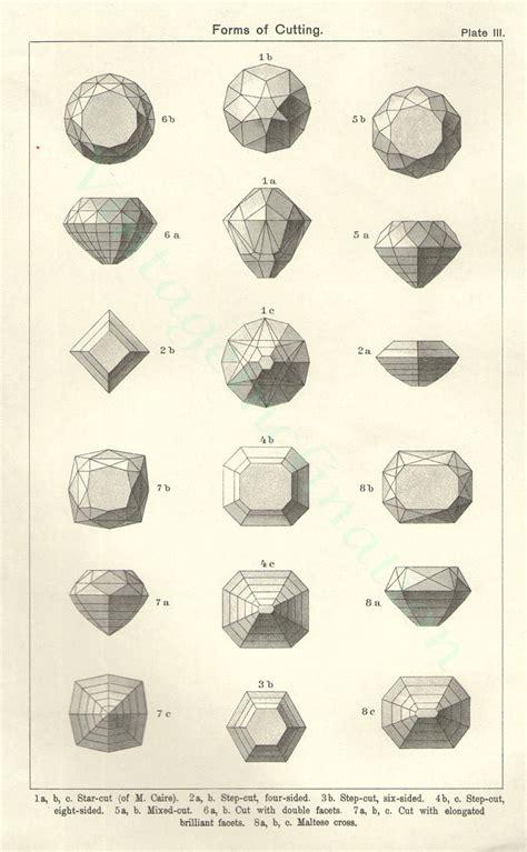 vintage print cutting diamonds chart t iii vintage precious