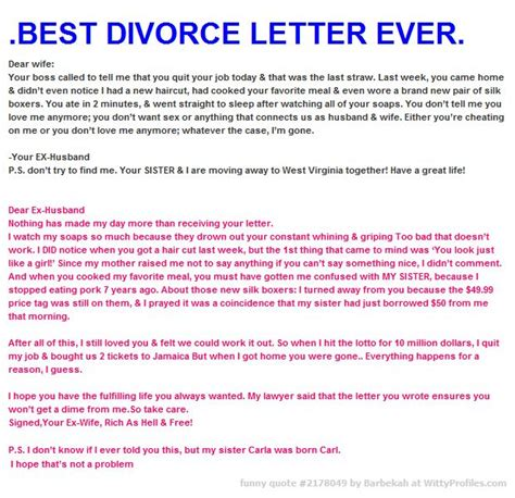 Don T Divorce Me Letter Best Divorce Letter Dear Your Called To Tell Me That You Quit Your Today