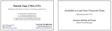 Accountant After Mba by Make A Business Card To Help Your Search The