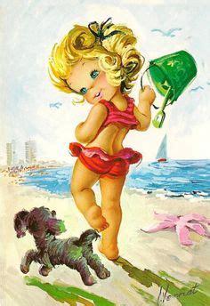 imagenes retro infantiles big eyed girl vintage 70s postcard by gallarda isn t she