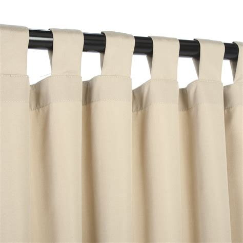 tabbed curtains sunbrella canvas antique beige outdoor curtain with tabs