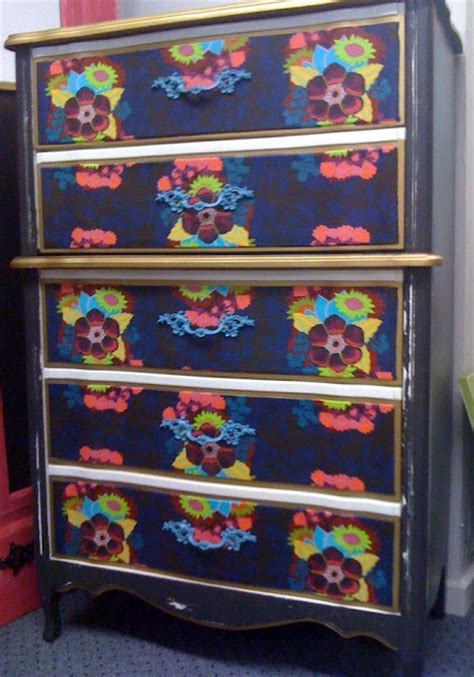 Decoupage Dresser With Fabric - recycled furniture diy dresser redo with fabric