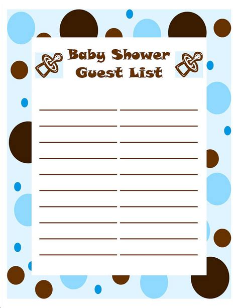 Baby Shower List Template by Template Of Baby Shower Guessing And Guest List