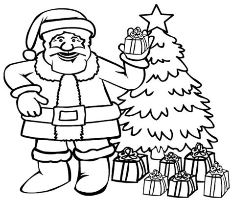 Santa Claus And Christmas Tree Coloring Page Coloring Page Santa Claus With Tree Coloring Pages