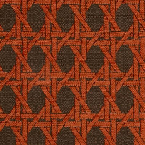 oriental design upholstery fabric island rattan persimmon dark orange oriental geometric