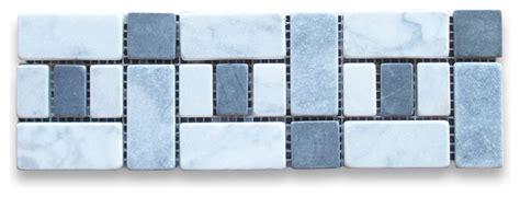 carrara white    listello tile mosaic border tumbled