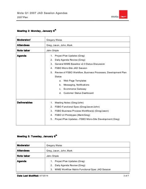 organizational jad session workshops agenda