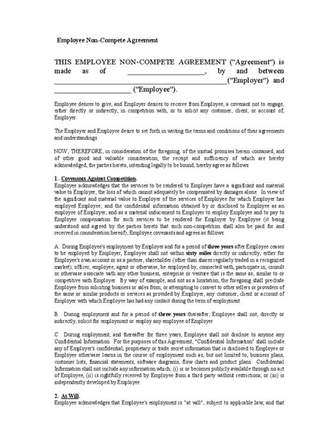 ncnd agreement template 100 employee non compete agreement template sle