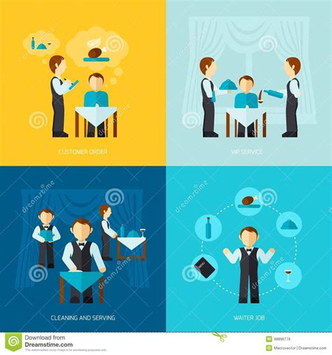 layout man jobs waiter man icon flat stock vector image 48896779