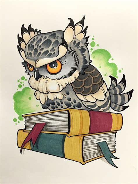 new school tattoo design new school owl design