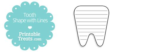 tooth writing template free printable tooth shape with lines