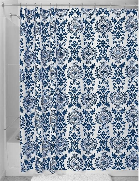 blue and white patterned curtains navy blue shower curtains in 10 awesome patterned designs
