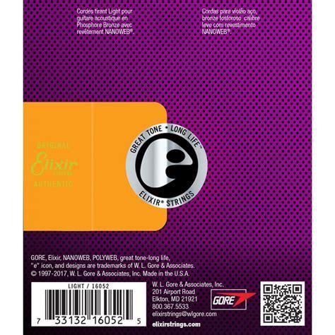 elixir light nanoweb acoustic guitar strings elixir 16052 acoustic guitar strings nanoweb light 12 53