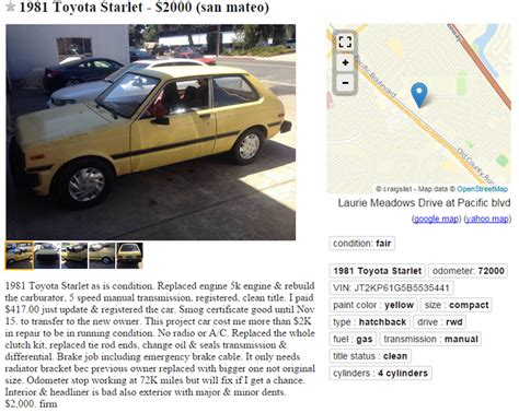 Toyota Starlet Craigslist Found On Craigslist 13 Ones From 1981 Bestride