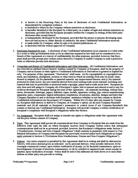 confidentiality and non compete agreement template free