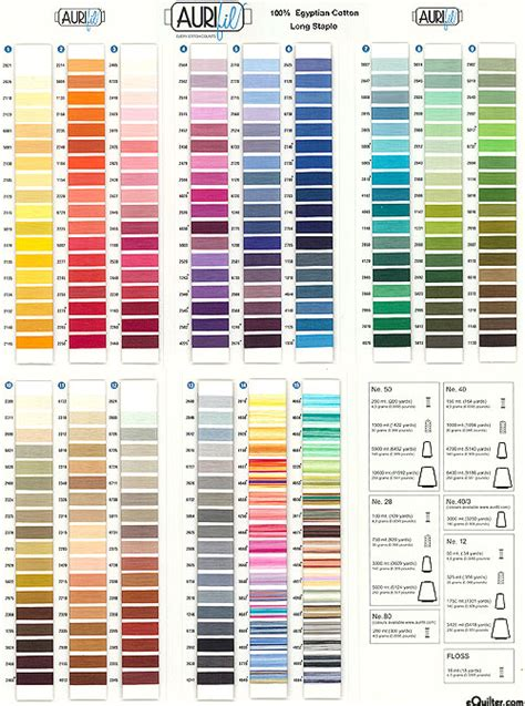 aurifil thread colors equilter aurifil threads color card
