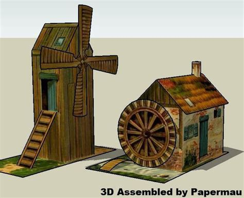 Windmill Papercraft - papermau windmill and watermill vintage paper models by