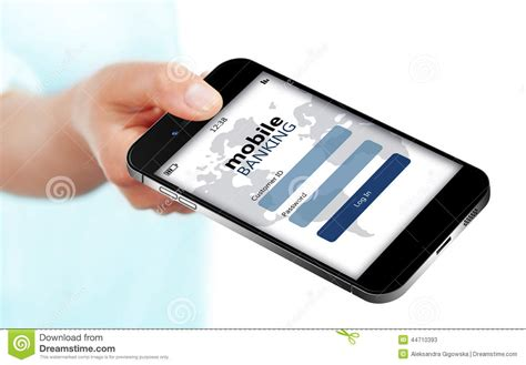 bank phone mobile phone with mobile banking log in page holded by