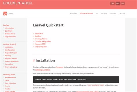 laravel tutorial quickstart website design menu for expanding list of items user