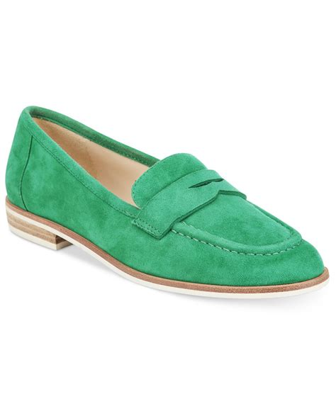 green loafers nine west antonecia loafers in green green suede